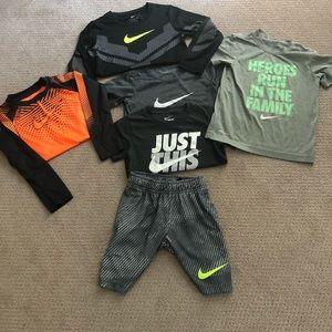 Nike boys t-shirts, long sleeve and shorts.